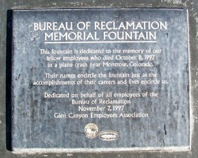 Bureau of Reclamation Memorial Fountain Marker image. Click for full size.
