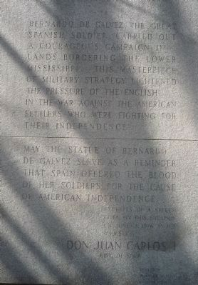 Bernardo de Gálvez Memorial - inscription, eastside of base image. Click for full size.