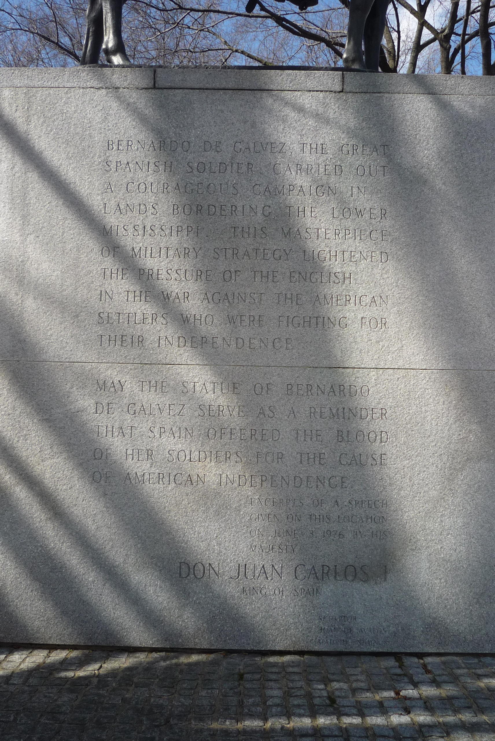 Bernardo de Gálvez Memorial - inscription, eastside of base