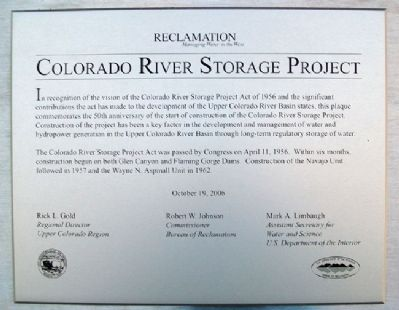 Colorado River Storage Project Marker image. Click for full size.
