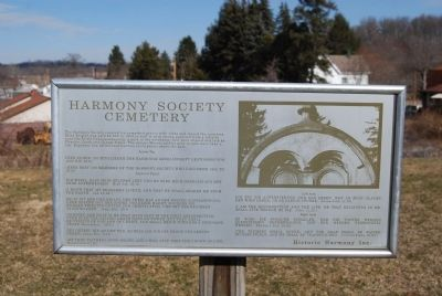 Harmonist Cemetery Entrance sign image. Click for full size.