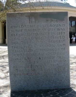 The First Public Children's Playground in the United States Marker image. Click for full size.