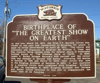 "Birthplace of ""The Greatest Show on Earth"" Marker image. Click for full size."