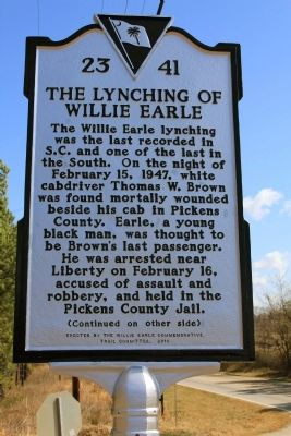 The Lynching Of Willie Earle Marker (front) image. Click for full size.