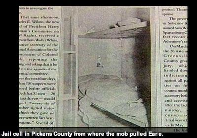 Jail Cell Where the White Mob Grabbed Willie Earle image. Click for full size.