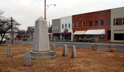 District Five War Memorial -<br>Downtown Lyman in the Background image. Click for full size.