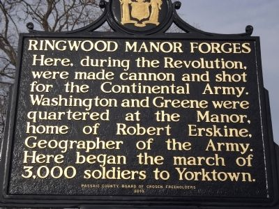 Ringwood Manor Forges Marker image. Click for full size.
