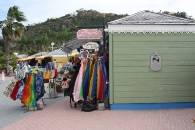 St. Maarten Gingerbread Market Stalls and Marker image. Click for full size.