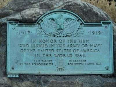 Pompton Lakes World War Memorial Marker image. Click for full size.