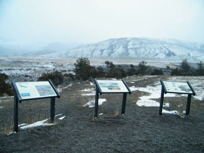 Yellowstone's Northern Range Marker with two additional markers nearby image. Click for full size.