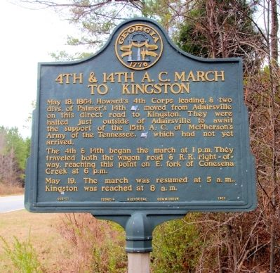 4th & 14th A.C. March to Kingston Marker image. Click for full size.