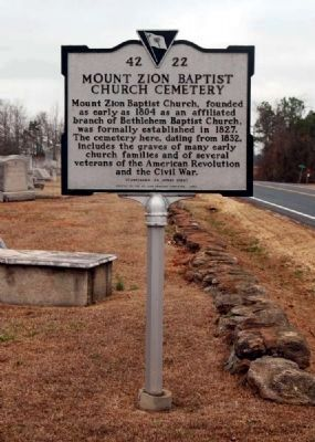Mount Zion Baptist Church Cemetery Marker -Front image. Click for full size.