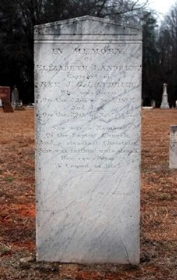 Elizabeth Landrum Tombstone<br>Engraved by W.T. White image. Click for full size.