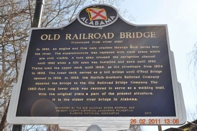 Old Railroad Bridge Marker (reverse) image. Click for full size.
