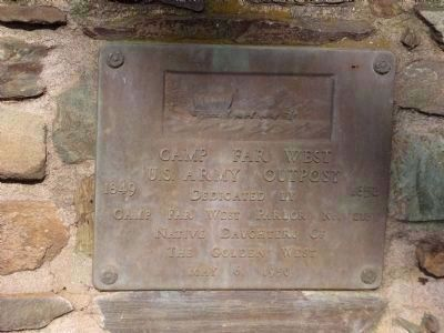 Camp Far West Dedication Plaque image. Click for full size.