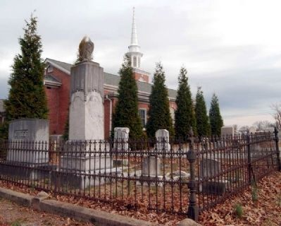 Honea Path Cemetery -<br>North Border<br>Honea Path Presbyterian Church in Background image. Click for full size.