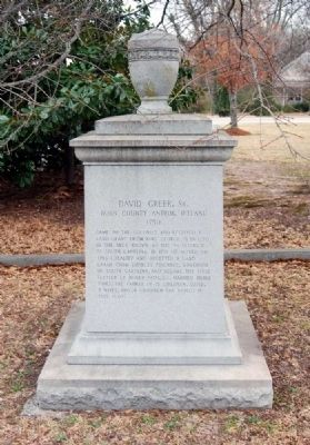 David Greer, Sr. Marker -<br>West Facing image. Click for full size.
