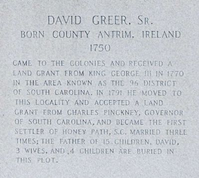 David Greer, Sr. Marker -<br>West Inscription image. Click for full size.