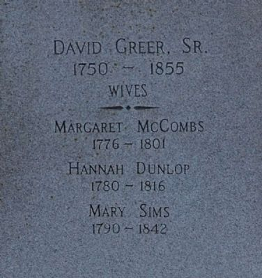 David Greer, Sr. Marker -<br>North Inscription image. Click for full size.