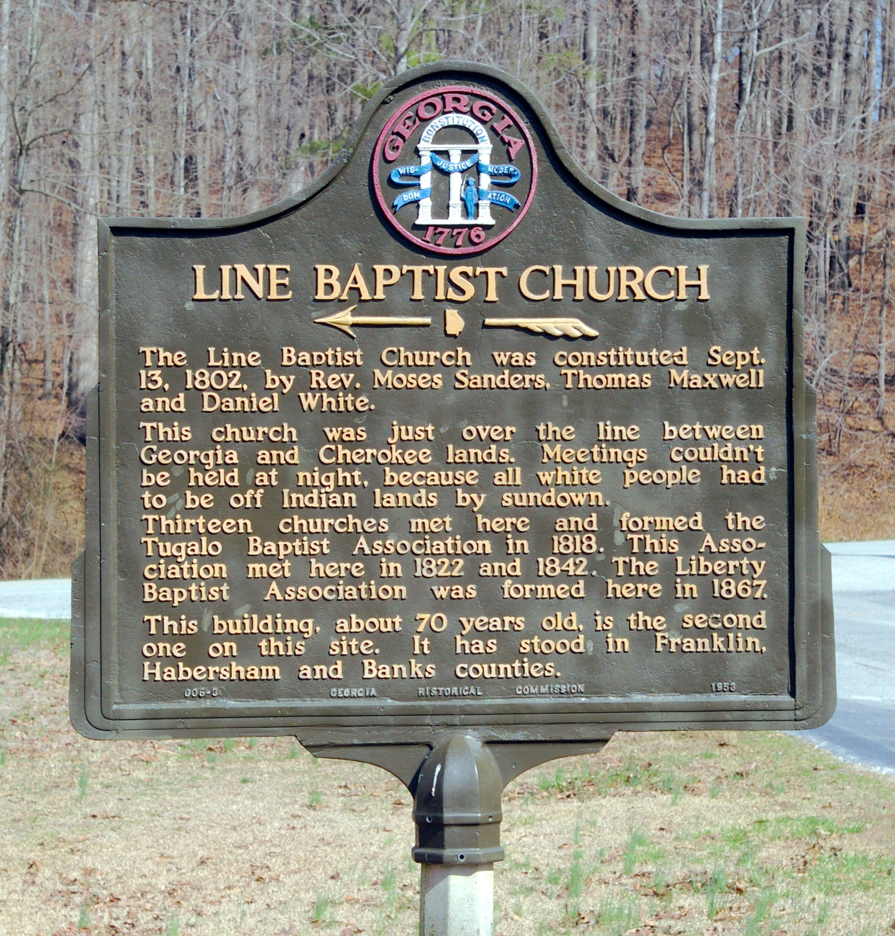 Line Baptist Church Marker
