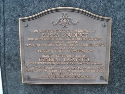 Elisha Boudinot and General Lafayette Marker image. Click for full size.