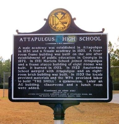 Attapulgus High School Marker (side 1) image. Click for full size.