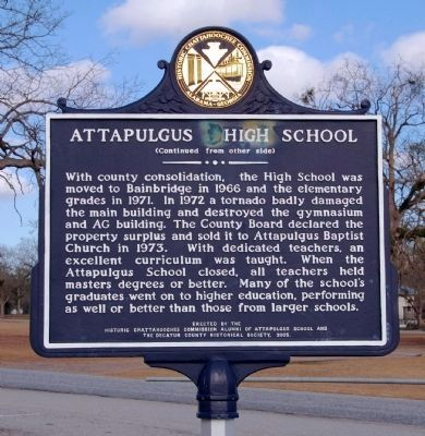 Attapulgus High School Marker (side 2) image. Click for full size.