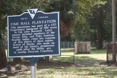 Fish Hall Plantation Marker with new paint image. Click for full size.