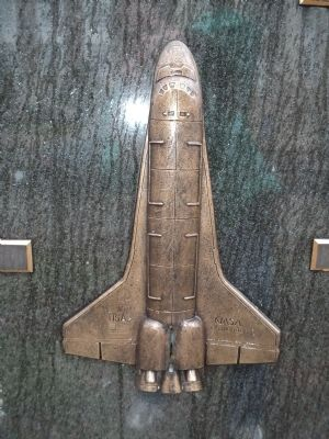 Detail of Space Shuttle Challenger from Monument image. Click for full size.