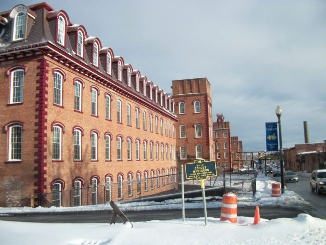 Cohoes Mastodon Marker - Harmony Mill in Background image. Click for full size.