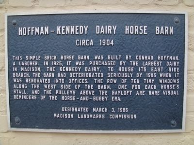 Hoffman - Kennedy Dairy Horse Barn Marker image. Click for full size.