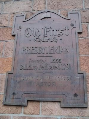 Old First Church Plaque image. Click for full size.