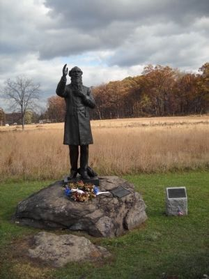 Rev. William E. Corby Statue on Gettysburg Battlefield image. Click for more information.