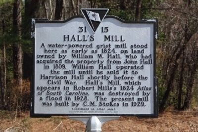 Hall's Mill Marker image. Click for full size.