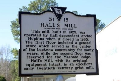 Hall's Mill Marker, reverse side image. Click for full size.