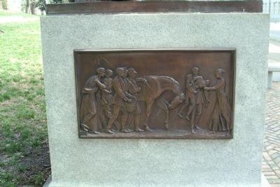 A closer view of the bas relief on the left side of the marker image. Click for full size.
