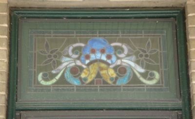 Detail of Stained Glass Window on Suhr House image. Click for full size.