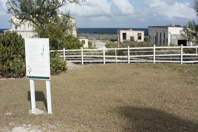 U.S. Naval Facility Marker with abandoned buildings seen in background image. Click for full size.