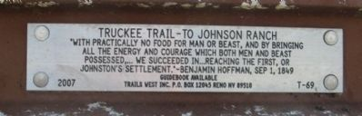 Truckee Trail – To Johnson Ranch Marker image. Click for full size.