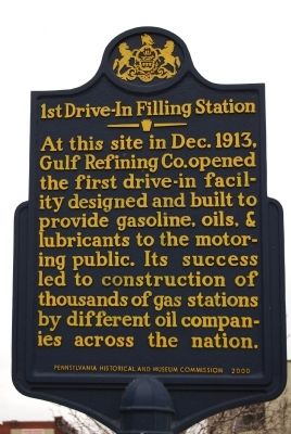 1st Drive-In Filling Station Marker image. Click for full size.