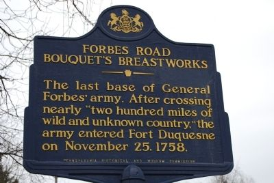 Forbes Road Bouquet's Breastworks Marker image. Click for full size.