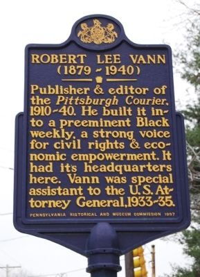 Robert Lee Vann Marker image. Click for full size.