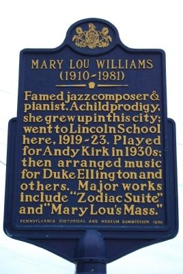 Mary Lou Williams Marker image. Click for full size.