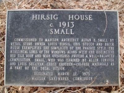 Hirsig House Marker image. Click for full size.