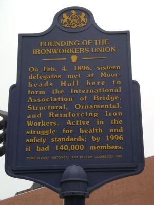Founding of the Ironworkers Union Marker image. Click for full size.