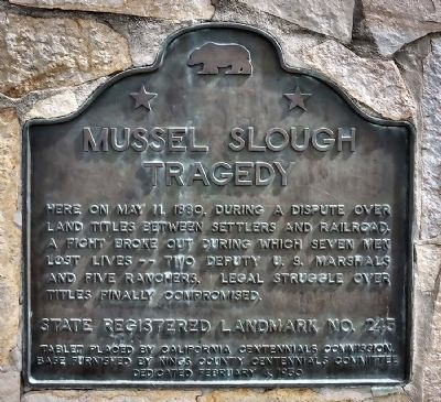 Mussel Slough Tragedy Marker image. Click for full size.