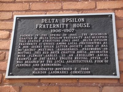 Delta Upsilon Fraternity House Marker image. Click for full size.