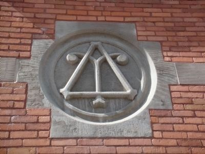 Delta Upsilon Symbol on Fraternity House image. Click for full size.
