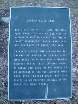 Edward Klief Park Marker image. Click for full size.