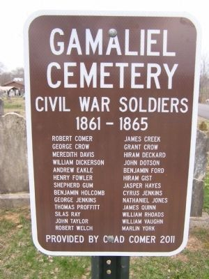 Gamaliel Cemetery Marker image. Click for full size.